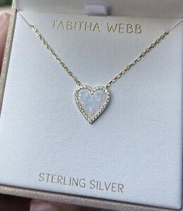 Tabitha Webb .925 Sterling Silver/Opal/CZ~Gold Tone Necklace/Pendant~NIB!