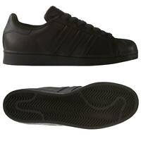 adidas ORIGINALS SUPERSTAR FOUNDATION SHOES ALL BLACK TRAINERS MENS