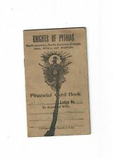 Antique 1924 Knights of Pythias Financial Card Book Booklet Lodge No. 33 or 38