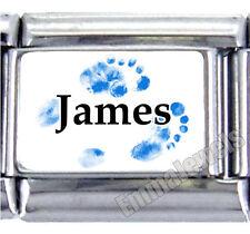 Blue Footprint Baby Boy Name 9mm Custom Italian Photo Charm New