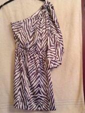 lipsy dress size 8 grey/white animal print one shoulder batwing sleeve side zip