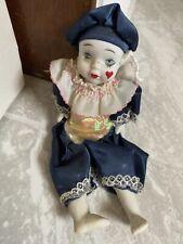 Vintage Pierrot Love Harlequin Clown Porcelain doll Creepy Blue Collectible Rare