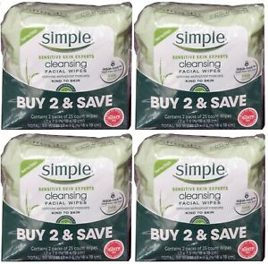 Simple Sensitive Skin Cleansing Facial Wipes (25 CT x 8 PK) 200 CT - New Sealed