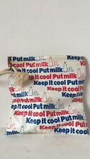 Vtg 70s milk insulation insulating bag cooling pouch bottle lettering typography