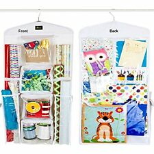 Dual Sided Vertical Gift Wrap Organizer, Wrapping Paper Storage System, Bag And