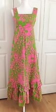 Vtg 60's-70's Nalii Honolulu Pink And Green Floral Maxi Dress Size Small Medium