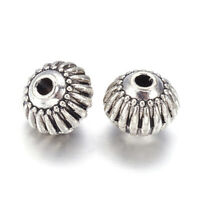20PCS Tibetan Alloy Bicone Metal Beads Corrugated Antique Silver Tiny Spacer 8mm