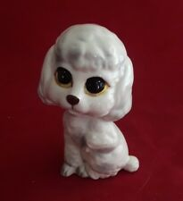 Vintage Lefton Big Eyes Dog Figurine White Gray Poodle Puppy #H6862 Keane Cocker