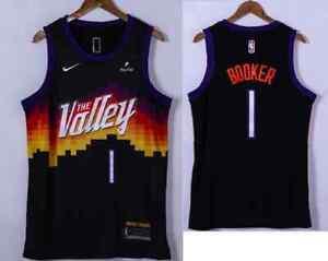 Phoenix Suns #1 Devin Booker Black 2021 NBA Playoffs Jersey