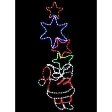 Outdoor Santa Rope Light Silhouette With Stars Large LED Christmas Decoration