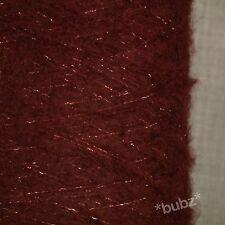SOFT BRUSHED MOHAIR WOOL YARN OXBLOOD RED LUREX GLITTER 500g CONE 10 BALLS 3 PLY