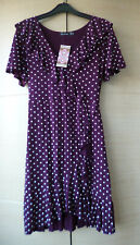 BNWT, PRETTY, FRILLED, SPOTTED TEA DRESS IN 'BERRY' BY BOOHOO - UK 12