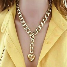 Heart Pendant Fat Chunky Chain Necklace Padlock Gold Silver Charms Women Girls