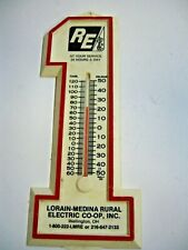 RURAL ELECTRIC MEDINA LORAIN THERMOMETER NICE WHITE ADVERTISING