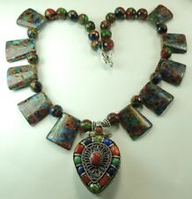 Statement Trapezoid Mosaic Quartz Necklace with Coral Lapis & Turquoise Gau Box