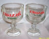 "LOT OF 2 VINTAGE RIGAZZI'S FISH BOWL BEER DRINKING GLASS ST LOUIS MO ""THE HILL"""