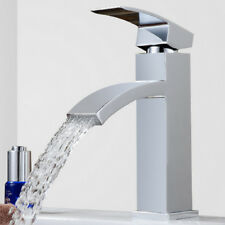 Modern Bathroom Taps Basin Sink Mixer Waterfall Tap Chrome Mono Faucet & Hose