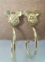 "Disney Vintage 90s Mickey Mouse Head Face Gold Tone Hoop Earrings .75"""