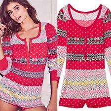 Victorias Secret Size Medium Fireside Romper Thermal Pajamas Waffle Shorts PJs