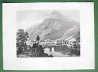 SWITZERLAND Swiss Alps View of Amsteg - 1860s Engraving Antique Print