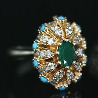925 Sterling Silver Handmade Gemstone Turkish Emerald Ladies Ring Size 7-12