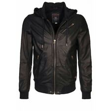 •>65%OFF• $798 NWT DIESEL L-HASSO Collins Hooded Black Leather Jacket Men's XL