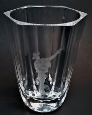 Orrefors Vintage 1950s Signed Crystal Art Glass Etched Flamenco Guitarist Vase
