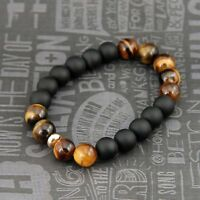 Men's Hip Hop 10MM Tiger's Eye Stone Gems Beads Elastic Stretch Wrist Bracelets