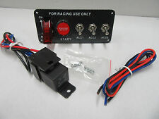 12V Ignition Switch Panel Engine Start Push Button LED Toggle Carbon Rat Rod