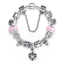 Luxury European heart Charm Silver Bracelet Murano Glass For Women Birthday