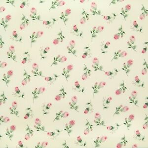 100% Cotton Poplin Rose & Hubble Fabric DITSY PINK ROSE Floral Material Fleur