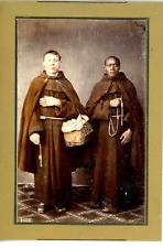 Sicilia, Monaci  Vintage albumen print. Tirage albuminé aquarellé  10x14