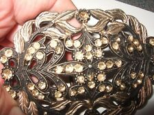 Bronze with pink stones and colour,  3 3/4 by 2 1/2 inch, metal buckle