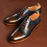 Handmade Men's Brown Blue Brogue Lace Up Dress Shoes, Real Leather Office Shoes