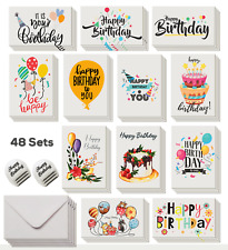 48 Pack Happy Birthday Cards assortment with envelope and stickers (Saving Pack)