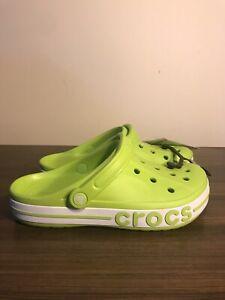 Crocs Unisex Bayaband Clogs Lime Green WhiteSlides Men's 8 WMNS 10  205089-3T1