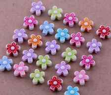 100Pcs Mixed Color Acrylic Flower Loose Spacer Beads Charms Findings 9x4mm