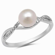 USA Seller Infinity Pearl Ring Sterling Silver 925 Best Deal Jewelry Size 9