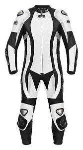Lederkombi Schwarz Weiß Einteiler von XLS Motorradkombi einteilig Gr. 46 bis 62