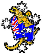 SOUTHERN CROSS WITH BOXING KANGAROO VINYL DECAL 80MM BY 62MM GLOSS LAMINATED