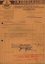 Augusta, fattura 1940, seghe e Molle-fabbrica J. N. Eberle & Cie.