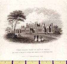 Art Prints 1828 Antique Small Georgian Print ~ Eaton Hall ~ Cheshire