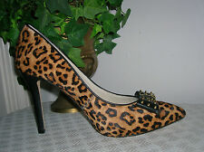 Michael Kors Devin Spike Bow cheetah Calf Hair Pumps Brown Leather Women's 6.5