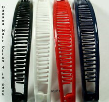 4 x PLAIN COLOUR BANANA HAIR COMB CLIPS/HAIR GRIPS FASHION ACCESSORIES * NEW*