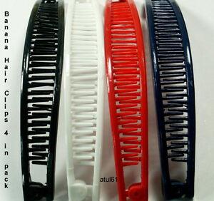 4 x PLAIN COLOUR BANANA HAIR COMB CLIPS/HAIR GRIPS FASHION ACCESSORIES * NEW*