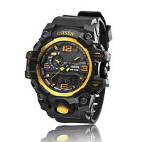 OHSEN Gold and Black Womens Analog Digital Time Quartz Sport Wristwatch