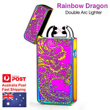 AU Rainbow LED Electric Lighter Rechargeable Double Arc Usb Windproof Plasma