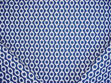 17-1/2Y THIBAUT SAPPHIRE BLUE WHITE LINKED CHAIN GEOMETRIC UPHOLSTERY FABRIC