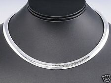 Silver Italian Omega Necklace Sterling Silver 925 Best Price Jewelry 8mmx16""