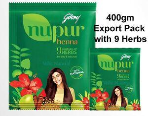 Godrej Nupur Henna 400gm | With 9 Hair Growth Herbs for Silky & Shiny Hair 400gm